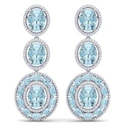 34.52 CTW Royalty Sky Topaz & VS Diamond Earrings 18K White Gold - REF-354T5X - 39267
