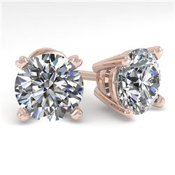 4 CTW Certified VS/SI Diamond Stud Earrings 14K Rose Gold - REF-1827R3K - 38385
