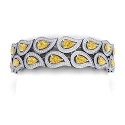 20.11 CTW Royalty Canary Citrine & VS Diamond Bracelet 18K White Gold - REF-763W6H - 39492