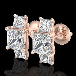 3.08 CTW Princess VS/SI Diamond Art Deco Stud Earrings 18K Rose Gold - REF-630K2R - 37200