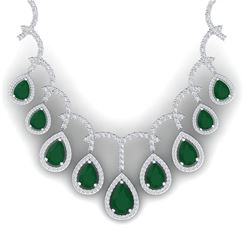 31.5 CTW Royalty Emerald & VS Diamond Necklace 18K White Gold - REF-872M8F - 39345