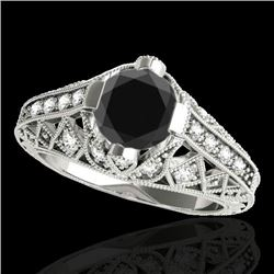 1.25 CTW Certified Vs Black Diamond Solitaire Antique Ring 10K White Gold - REF-58R9K - 34687