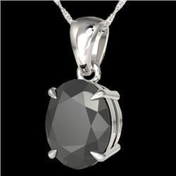 5 CTW Black VS/SI Diamond Certified Designer Solitaire Necklace 18K White Gold - REF-117Y6N - 21855