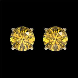 1 CTW Certified Intense Yellow SI Diamond Solitaire Stud Earrings 10K Yellow Gold - REF-141M8F - 330