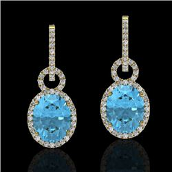 8 CTW Sky Blue Topaz & Micro Solitaire Halo VS/SI Diamond Earrings 14K Yellow Gold - REF-90F8M - 227