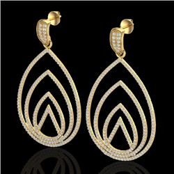 2.50 CTW Micro Pave VS/SI Diamond Certified Designer Earrings 18K Yellow Gold - REF-277T6X - 22478