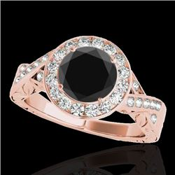 1.75 CTW Certified Vs Black Diamond Solitaire Halo Ring 10K Rose Gold - REF-87X8T - 34526