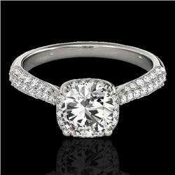 1.5 CTW H-SI/I Certified Diamond Solitaire Halo Ring 10K White Gold - REF-177F6M - 33258