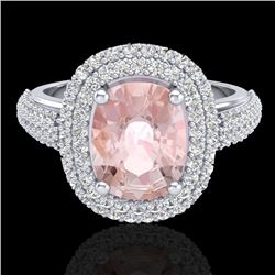 3.25 CTW Morganite & Micro Pave VS/SI Diamond Certified Halo Ring 18K White Gold - REF-148F9M - 2072