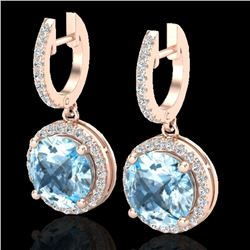 5.50 CTW Sky Blue Topaz & Micro Pave VS/SI Diamond Designer Halo 14K Rose Gold - REF-70F9M - 23187