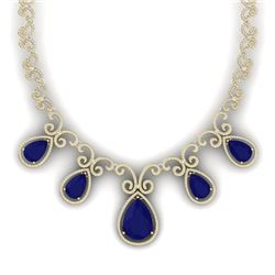 38.42 CTW Royalty Sapphire & VS Diamond Necklace 18K Yellow Gold - REF-1109F3M - 39533