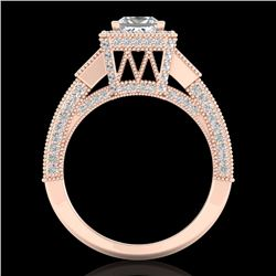 3.53 CTW Princess VS/SI Diamond Micro Pave 3 Stone Ring 18K Rose Gold - REF-618Y2N - 37176