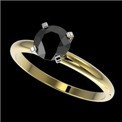 1 CTW Fancy Black VS Diamond Solitaire Engagement Ring 10K Yellow Gold - REF-32M8F - 32889
