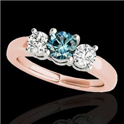 2 CTW SI Certified Fancy Blue Diamond 3 Stone Solitaire Ring 10K Rose Gold - REF-290T9X - 35445