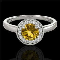 1.15 CTW Certified Si Fancy Intense Yellow Diamond Solitaire Halo Ring 10K White Gold - REF-152N8Y -