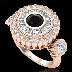 2.62 CTW Fancy Black Diamond Solitaire Art Deco 3 Stone Ring 18K Rose Gold - REF-254N5Y - 37920