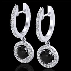 1.75 CTW Micro Pave Halo VS/SI Diamond Certified Earrings 18K White Gold - REF-96W5H - 23251