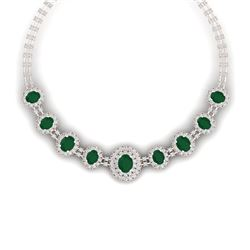 45.69 CTW Royalty Emerald & VS Diamond Necklace 18K Rose Gold - REF-1618W2H - 38791