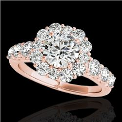2.25 CTW H-SI/I Certified Diamond Solitaire Halo Ring 10K Rose Gold - REF-250W9H - 33383