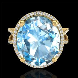 12 CTW Sky Blue Topaz & Micro Pave VS/SI Diamond Halo Ring 18K Yellow Gold - REF-84W2H - 20956