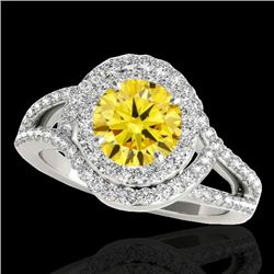 1.9 CTW Certified Si Fancy Intense Yellow Diamond Solitaire Halo Ring 10K White Gold - REF-209W3H -
