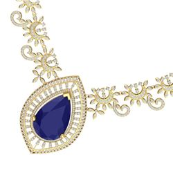 65.75 CTW Royalty Sapphire & VS Diamond Necklace 18K Yellow Gold - REF-1436W4H - 39782