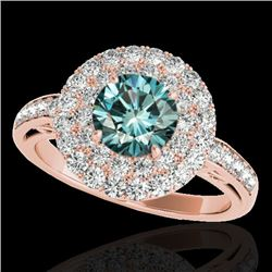 2.25 CTW SI Certified Fancy Blue Diamond Solitaire Halo Ring 10K Rose Gold - REF-218H2W - 34208