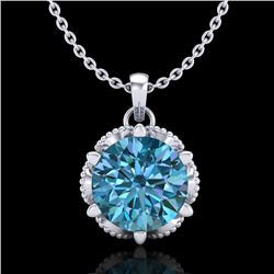 1.36 CTW Fancy Intense Blue Diamond Solitaire Art Deco Necklace 18K White Gold - REF-180N2Y - 38104