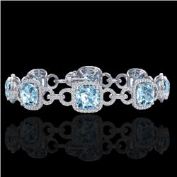 30 CTW Topaz & Micro VS/SI Diamond Certified Bracelet 14K White Gold - REF-368F9M - 23032
