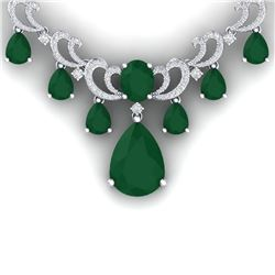 34.91 CTW Royalty Emerald & VS Diamond Necklace 18K White Gold - REF-1000T2X - 38655