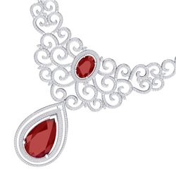 87.52 CTW Royalty Ruby & VS Diamond Necklace 18K White Gold - REF-2000F2M - 39839