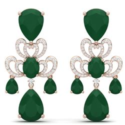 58.73 CTW Royalty Emerald & VS Diamond Earrings 18K Rose Gold - REF-636K4R - 38671