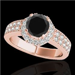 1.4 CTW Certified Vs Black Diamond Solitaire Halo Ring 10K Rose Gold - REF-74N4Y - 34553