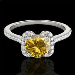 1.33 CTW Certified Si Fancy Intense Yellow Diamond Solitaire Halo Ring 10K White Gold - REF-163H5W -