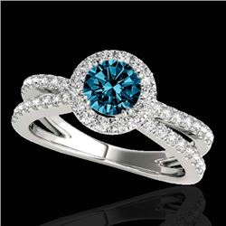 1.55 CTW SI Certified Fancy Blue Diamond Solitaire Halo Ring 10K White Gold - REF-178Y2N - 33851