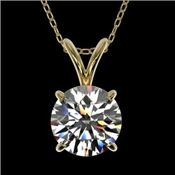 1.29 CTW Certified H-SI/I Quality Diamond Solitaire Necklace 10K Yellow Gold - REF-175R5K - 36781