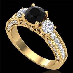 2.07 CTW Fancy Black Diamond Solitaire Art Deco 3 Stone Ring 18K Yellow Gold - REF-200H2W - 37781