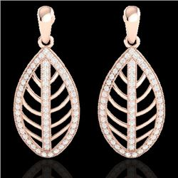 2 CTW Micro Pave VS/SI Diamond Certified Designer Earrings 14K Rose Gold - REF-159F5M - 21473