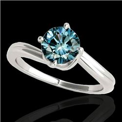 1 CTW SI Certified Fancy Blue Diamond Bypass Solitaire Ring 10K White Gold - REF-141H3W - 35034