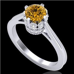 1.14 CTW Intense Fancy Yellow Diamond Engagement Art Deco Ring 18K White Gold - REF-136T4X - 37343