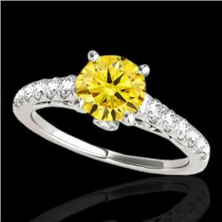 1.5 CTW Certified Si Fancy Intense Yellow Diamond Solitaire Ring 10K White Gold - REF-172Y8N - 34991