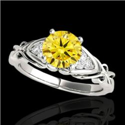 1.1 CTW Certified Si Fancy Yellow Diamond Solitaire Ring 2 Tone 10K White Gold - REF-161Y8N - 35206