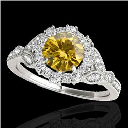 1.5 CTW Certified Si Fancy Intense Yellow Diamond Solitaire Halo Ring 10K White Gold - REF-174R5K -