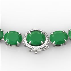 170 CTW Emerald & VS/SI Diamond Solitaire Necklace 14K White Gold - REF-993H8W - 22294