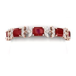38.13 CTW Royalty Ruby & VS Diamond Bracelet 18K Rose Gold - REF-490Y9N - 39394