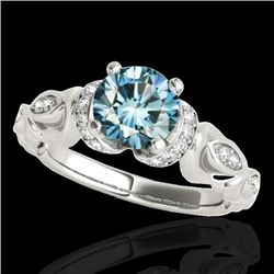 1.2 CTW SI Certified Fancy Blue Diamond Solitaire Antique Ring 10K White Gold - REF-161K8R - 34680