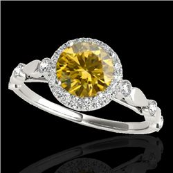 1.25 CTW Certified Si Fancy Intense Yellow Diamond Solitaire Halo Ring 10K White Gold - REF-154H5W -