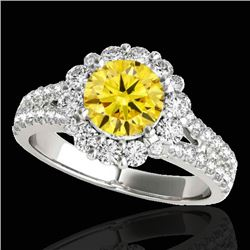 2.51 CTW Certified Si Fancy Intense Yellow Diamond Solitaire Halo Ring 10K White Gold - REF-337K3R -