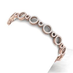 4 CTW Certified SI/I Diamond Halo Bracelet 18K Rose Gold - REF-271T4X - 40176