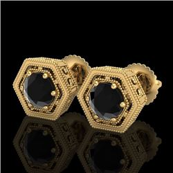1.07 CTW Fancy Black Diamond Solitaire Art Deco Stud Earrings 18K Yellow Gold - REF-73T3X - 37508